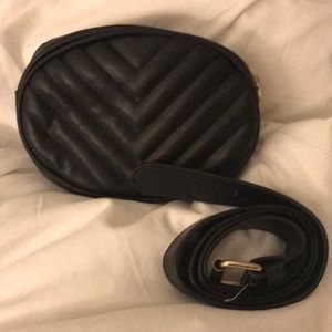 Quilted Black Faux Leather Belt Bag